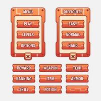 Vektor-Spielvorlage GUI-Kit. Auswahl der Schnittstellenebene mehrstufige Elemente vektor