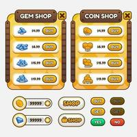 Vektor-Spielvorlage GUI-Kit. grafische Benutzeroberfläche des Spiels zum Erstellen von Web- und mobilen Spielen und Apps. vektor