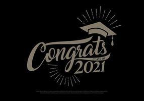 Herzlichen Glückwunsch Klasse 2021 Absolventen Vintage-Konzept. schwarze, goldene Abschlusslogokollektion im Retro-Stil vektor