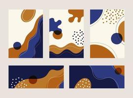 Satz abstrakter Banner, Cover-Broschüre, Poster moderne Linienwellenformmuster mit Hand gezeichnet auf weißem Hintergrund vektor