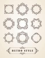Set med Retro Vintage Badges, Ramar, Etiketter och Gränser.