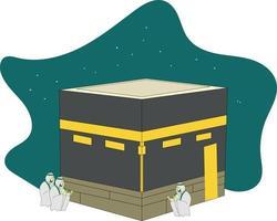 Vektordesign von muslimischen Menschen, die Hadsch in Mekka machen vektor