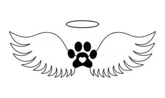 Hundepfote mit Engelsflügeln, Heiligenschein und Herz im Inneren. Haustier-Denkmal-Konzept. bedruckbares und schneidbares Grafikdesign für Tattoo, T-Shirt, Memory Board, Grabstein vektor