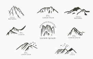 schwarze Linie natur mit Berg und Stern vektor