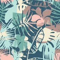 Seamless exotiskt mönster med tropiska växter och konstnärlig bakgrund vektor