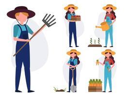 Satz von Landwirt oder Landwirt in Zeichentrickfigur-Vektorillustration vektor