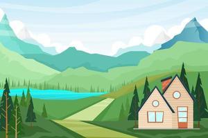 beste naturlage mit haus- und bergseelandschaftsvektorillustration vektor