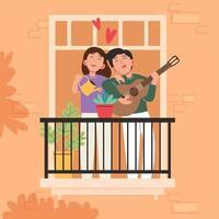 Großer isolierter Cartoon-Vektor von jungen Mädchen und Jungen in der Liebe, Paarteilung und fürsorgliche Liebe, heller Hintergrund, Illustration vektor