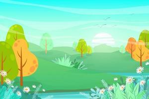 Naturlandschaft Cartoon-Szene mit touristischem Abenteuer vektor