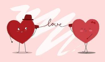 Vektorgrafik von zwei glücklichen Herzen, die sich gegenseitig ansehen und über das Telefon sprechen. Draht der Liebe. Beschriftung. Grußkartenkonzept zum Valentinstag. teile deine Liebe vektor