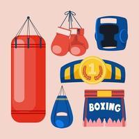 Boxausrüstung Werkzeuge Set Vektor. Kastenzubehör. Boxer, Ring, Gürtel, Boxsäcke, rote Handschuhe, Helm. isolierte flache karikaturillustration vektor