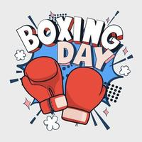 Boxing Day Vector Illustration, Cartoon rote Boxhandschuh-Symbol, Vorder- und Rückseite. isolierte Vektor-Illustration.