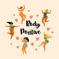 Kroppspositiv. Lyckliga plusstorlekflickor dansar.