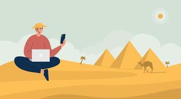 Vector Illustration Cartoon eines kleinen Jungen im Gespräch mit jemandem, setzen Sie sich auf den Boden der Pyramide. flache Konzeptillustration.