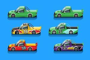Wenn das Spiel startet, kann der Spieler Rennwagen in der Spielebibliothek auswählen und einstellen vektor