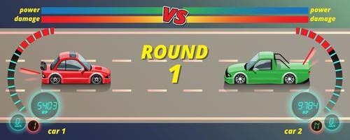 Wenn das Spiel startet, kann der Spieler den Rennwagen in der Spielebibliothek auswählen und die Leistung des Rennwagens optimieren. vektor