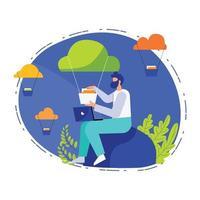 Daten-Upload Online-Illustrationskonzeptvektor, Datenanalysedesign vektor