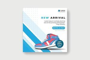 Schuhe Social-Media-Post-Banner. blaue und weiße farbe schuhe vorlage vektor