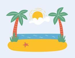Palmen am Strand am Meer. Sommerparadies in den Tropen. handgezeichnete Vektorillustration vektor