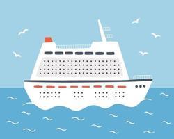 ein großes Kreuzfahrtschiff segelt auf dem Meer. auf einem Ozeandampfer reisen. handgezeichnete Vektorillustration vektor