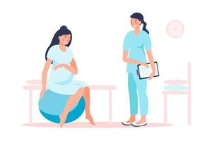 Schwangere Frau, die sich mit Arzt auf die Geburt im Krankenhaus vorbereitet. Geburtspositionen für Schwangere bei Geburtswehen, Hilfestellungen für schmerzlose Geburtswehen, am Fitnessball, am Stuhl. vektor