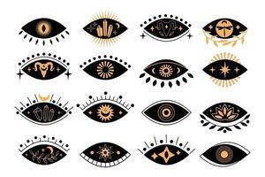 Satz mystischer Augen der Boho-Silhouette mit Sonne, Halbmond, Ziege, Lotus, Kristall im trendigen minimalen linearen Stil. Sammlung isoterische Vektorgrafik. Design für T-Shirt Drucke, Poster, Tattoo vektor