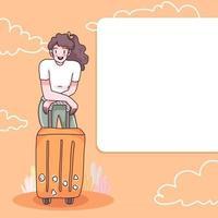 Teenager Reisender Zeichentrickfigur Vektor