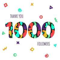 Danke 1000 Follower Zahlen Postkarte. Gratulieren Sie Farbverlauf flacher Stil Farbverlauf 1k dank Bild-Vektor-Illustration isoliert auf weißem Hintergrund. Vorlage für Internetmedien und soziale Netzwerke vektor