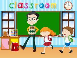 Lärare och elever i klassrummet