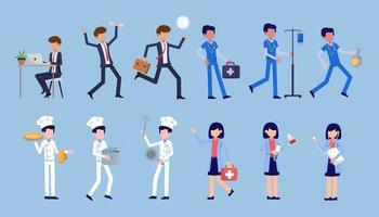 Bündel vieler Karriere-Charaktere 4 Sets, 12 Posen verschiedener Berufe, Lebensstile, vektor