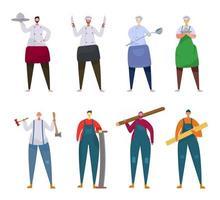 Bündel vieler Karriere-Charaktere 2 Sets, 8 Posen verschiedener Berufe, Lebensstile, vektor