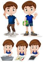 Kleiner Junge, der verschiedene Tätigkeiten tut