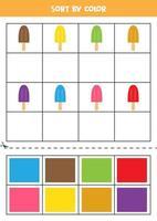 Bilder nach Farbe sortieren. Cartoon-Eis. Spiel für Kinder. schneiden und Kleben. vektor