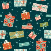 Jul och gott nytt år sömlöst mönster med presentkartonger.