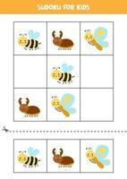 Sudoku-Spiel für Kinder mit niedlichen Cartoon-Insekten. vektor