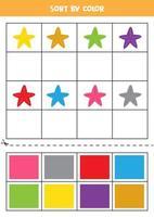 Bilder nach Farbe sortieren. Cartoon-Seesterne. Spiel für Kinder. schneiden und Kleben. vektor