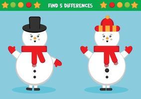 Finde fünf Unterschiede. Schneemänner. vektor