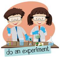Forskare gör experiment i laboratoriet vektor