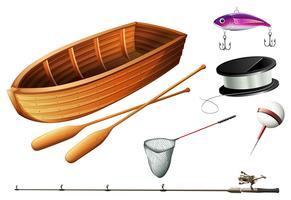 Båt och fiskeutrustning vektor