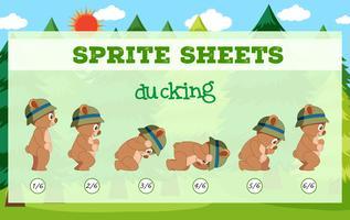 Sprite sheets bära ducking vektor
