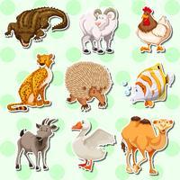 Aufkleberdesign mit vielen Kreaturen