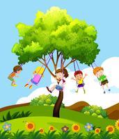 Barn som sitter på trädsvängning vektor