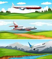 Tre scener av flygplan som flyger över fältet