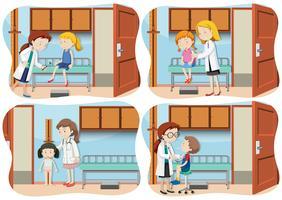 En uppsättning barn på sjukhuset vektor
