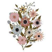 ein Strauß verschiedener schöner Wildblumen mit Blättern aus dem Garten. verschiedene blühende Pflanzen mit Blüten und Stielen. Hochzeitsdekorationen, Grüße und Geschenke. Elemente sind isoliert und bearbeitbar. vektor
