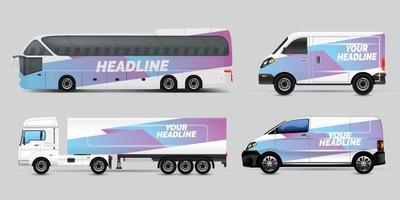 Transport-Werbe-Design, Auto-Grafik-Design-Konzept. grafische abstrakte Streifendesigns zum Verpacken von Fahrzeugen, Transportern, Pickups und Rennlackierungen. vektor