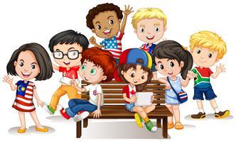 Grupp av internationella barn