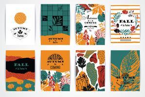 Set künstlerische kreative Herbstkarten. vektor