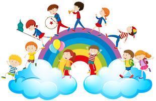 Kinder spielen Musik über dem Regenbogen