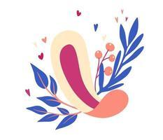 Damenbinden. Damenbinden mit Blättern und Blumen. Menstruationsperiode. Damenhygieneprodukt. flache Cartoon-Vektor-Illustration isoliert auf weißem Hintergrund vektor